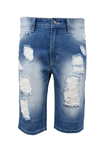 Henry & William Mens Ripped Distressed Basic Fit Denim Shorts