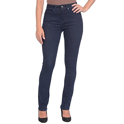 Lola Jeans Women's Kate High Rise 4-Way Stretch Straight Leg Jean (Dark Blue, 32/12)