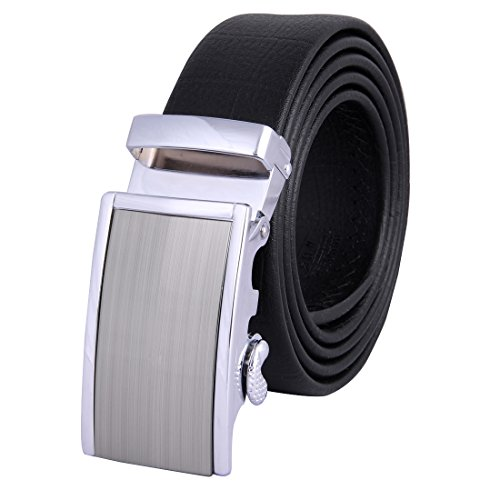 JINIU Men's Leather Belt Automatic Buckle 35mm Ratchet Dress Black Belts Boxed FG18 (Xmen Fancy Dress)