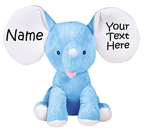 Personalized Stuffed Royal Blue Elephant with Embroidered Name and Message ()