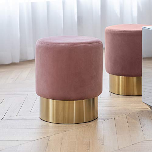 Vanity Footstool - Art Leon Small Round Velvet Ottoman, Upholstered with Gold Plating Base Footstool Rest Extra Seat, Pack of 1 (Rose Pink)