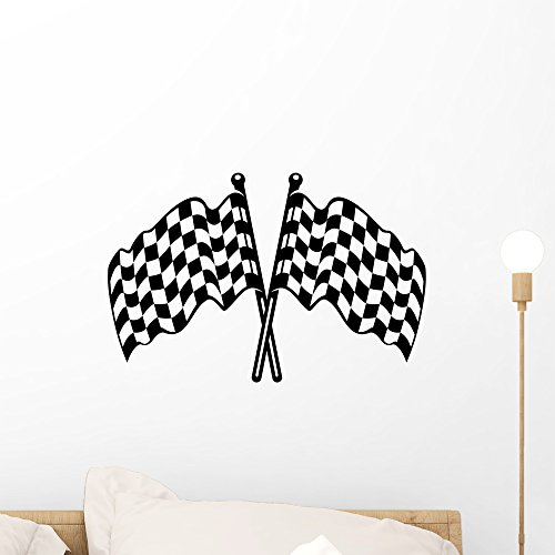 Wallmonkeys Two Crossed Black and White Checkered Flags Wall Decal Peel and Stick Graphic WM335781 (18 in W x 14 in H)