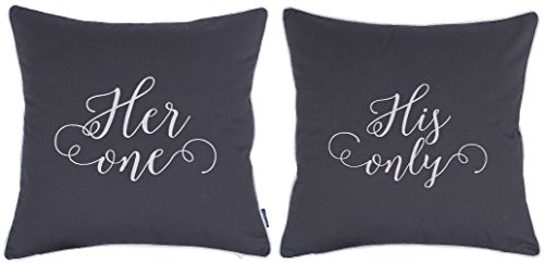 ADecor Pillow Covers His only Her one Pillowcase Embroidered Pillow cover Anniversary Decorative Pillow Standard Cushion Cover Gift Love Couple Wedding P320/321 (18X18, Grey)