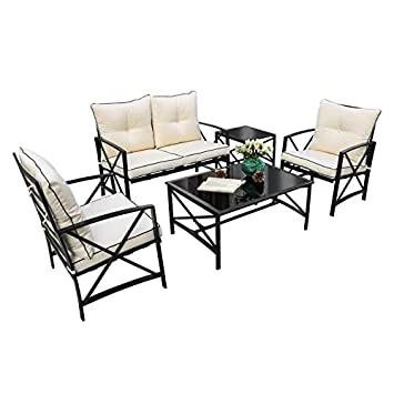 Friday discount Outdoor Patio 5 PCS Metal Furniture Conversation Set with Cushioned Chairs, Coffee Table Beige