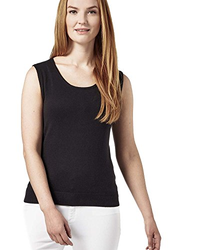 Scoop Neck Silk Sweater - WoolOvers Womens Silk and Cotton Scoop Neck Sleeveless Sweater Black, S