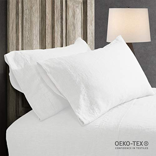- Simple&Opulence 100% Linen Pillowcase with Hand Drawing Hemstitch Pillow Cover Set of 2(White, Standard)