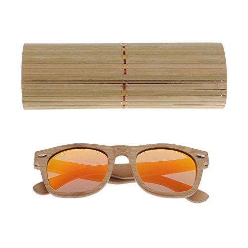 Cadre Lunette Verre Soleil de en Bambou Polarisées de orange Boîte Lunette Femmes Bois Hommes MagiDeal boîte gdpqg