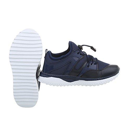 Ital-Design Freizeit Turnschuhe/Sneakers Kinderschuhe Freizeit Turnschuhe/Sneakers Jungen Schnürsenkel Freizeitschuhe Dunkelblau