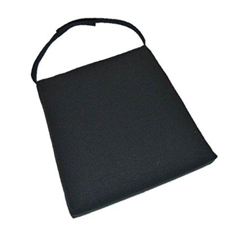 "in/Outdoor Soho Rattan Wicker/Banana Leaf/Seagrass Parson Chair Trapezoid Foam Seat Cushion w/Strap - Solid Black - 17"" Across X 17"" Deep X 16"" Across The Back"