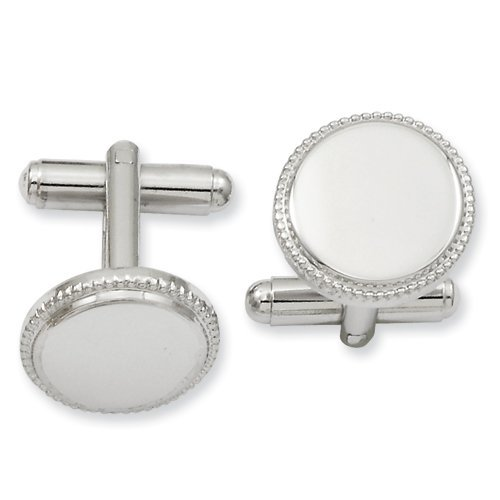Kelly Waters Rhodium-plated Polished Beaded Round Cuff Links