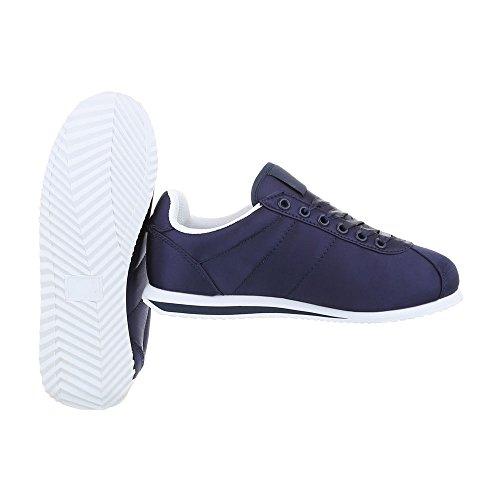 Sneaker Dunkelblau Low Unisex 131 Design AB Schnürer Top Schuhe Turnschuhe Herren Damen Schuhe Ital xawq0fFP