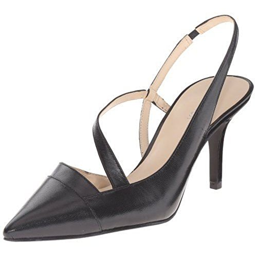 West Black Leather Slingback Pumps (Nine West Women's Kadia Leather Dress Pump, Black, 8 M US)
