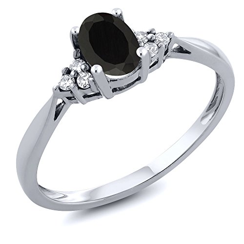 14K White Gold Black Onyx and Diamond Women's Ring 0.45 cttw (Available 5,6,7,8,9)