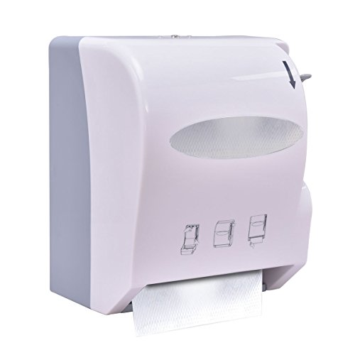 Costway Lever Roll Paper Towel Dispenser Wall Mount Heavy Duty (White) ()