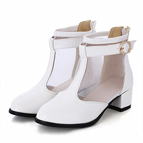 Carol Shoes Elegance Womens Buckle Zipper Mesh Chic Middle Chunky Heel Summer Boots White C38a9bUUP