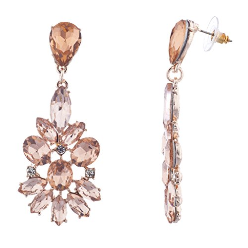 Lux Accessories Rose Gold Pink Chandelier Special Occasion Floral Wedding Bridal Flower Statement Earrings