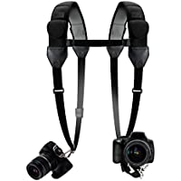Camera Strap Harness Dual Shoulders with Comfortable Neoprene Design and Gliding Buckles by USA Gear - Works With Sony Alpha a6500 , 7S II , CyberShot DSC-RX10 III and More Cameras