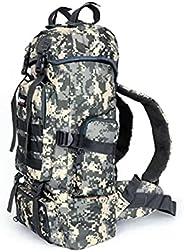 Mochila Camping 55 L Camuflada Militar Mochilão Caminhada Trilhas Impermeável Cargueira (Digital Cinza)