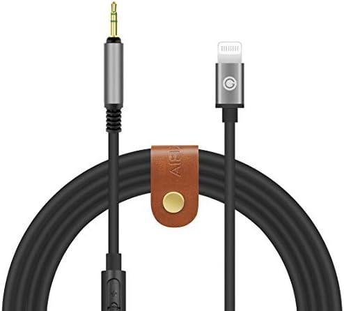 Geekria QuickFit Digital-auf-Audiokabel mit Mikrofon, Ersatz für BOSE QC35, QC25, AKG Y50, Y500, Sennheiser PXC550, 2,5-mm-Ersatz-Stereokabel, funktioniert mit X, XS, XR, iPad, 1,7 m, Schwarz
