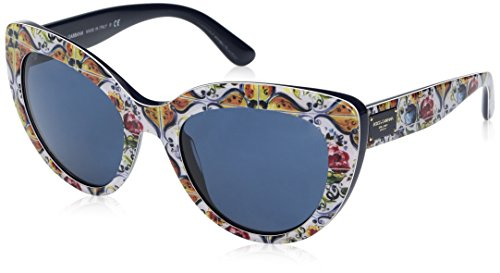 Dolce & Gabbana Women's Acetate Woman Cateye Sunglasses, Print Majolica on Blue, 53 - Print Sunglasses On