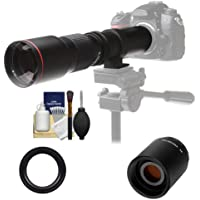 Vivitar 500mm f/8.0 Telephoto Lens with 2x Teleconverter (=1000mm) + Kit for Nikon D3200, D3300, D5300, D5500, D7100, D7200, D610, D750, D810 Camera