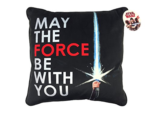 Star Wars Ep 8 May The Force Be With You Black White Red Plush Decorative Toss Throw Pillow