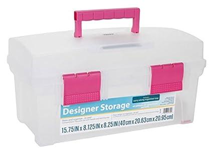 Darice DAR003ST1 Vanity Storage Box, Clear/Pink, 16u0026quot;