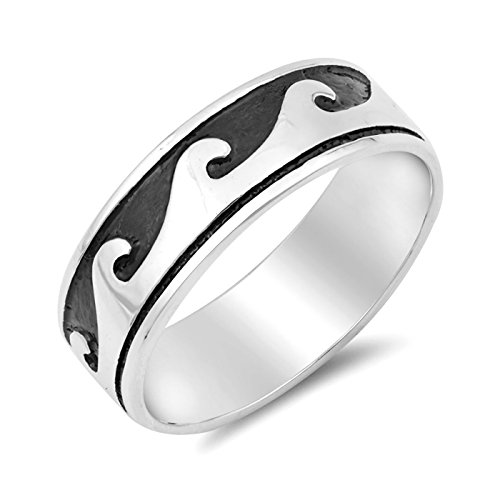7mm Oxidized Ocean Wave Womens Mens Ring 925 Sterling Silver Size 13