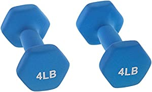 AmazonBasics Neoprene Dumbbells 4-Pound, Set of 2, Blue