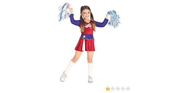 b1088186df6 Amazon.com  Cheerleader Costume - Retro Cheerleader Kids Costume Wb 5-7 Yrs  with Bracelet for Mom)  Toys   Games