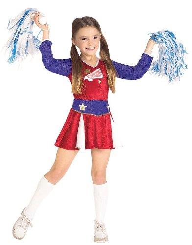 Cheerleader Costume - Retro Cheerleader Kids Costume Wb 5-7 Yrs with Bracelet for Mom) -
