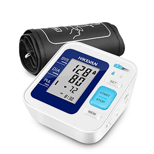 HIKEVAN Blood Pressure Monitor Upper Arm Bp Monitor with Talking & Mute Design,Wide Range Cuff,2 * 120 Readings Memory,Irregular Heart-Beat & Blood Pressure Indicator for Home Use [FDA -