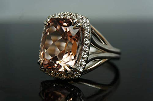 - Morganite Natural Estate Engagement Ring Natural Diamonds Halo Cushion Cut White Solid Real Gold 14k Vintage Antique style 8.44 ctw