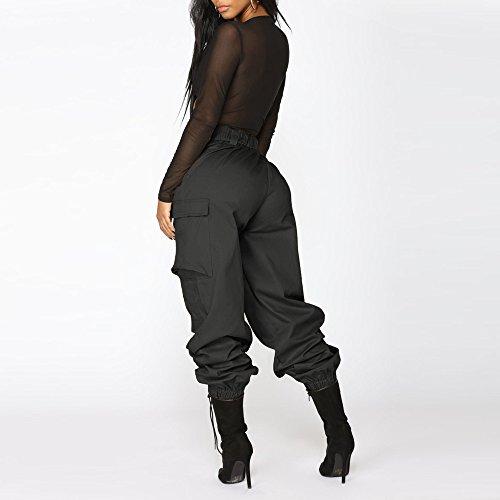 Femme Noir Et Pour Femmes Amuster Élastiqué Extensible Avec Décontracté Taille Pantalon Crayon Haute Poche YYIqT68