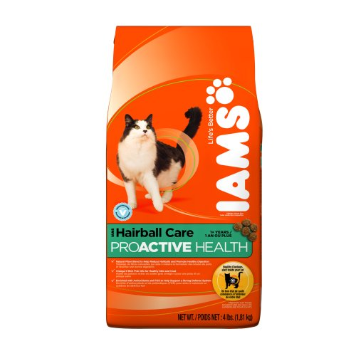 IAMS Hairball Care Proactive Health Dry Cat Food, 4-Pound Bags (Pack of 5), My Pet Supplies