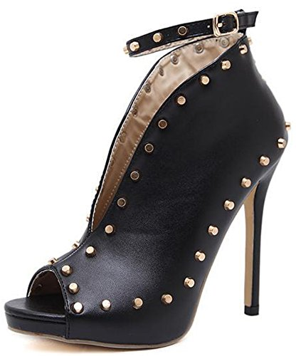 High Easemax Toe Black Heel Rivet Ankle Boots Open Ankle Strap Stiletto Buckle Stylish Women's HYwzHr