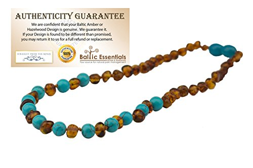 - Baltic Amber Teething Necklace for Babies (Unisex) (Honey Multi Cherry Black Red Milk White Butter Yellow Cognac Brown Rainbow Turquoise Pink Quartz Lapis Lazuli Lemon) - Baby, Infant, and Toddlers will all benefit. Polished Anti Flammatory, Drooling & Teething Pain Reduce Properties - Natural Certificated Oval Baroque Round Baltic Jewelry with the Highest Quality Guaranteed. Easy to Fastens with a Twist-in Screw Clasp Mothers Approved Remedies! (Cognac Turquoise)