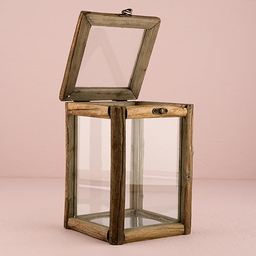 Weddingstar Rustic Wood and Glass Box with Hinged Lid Sty...