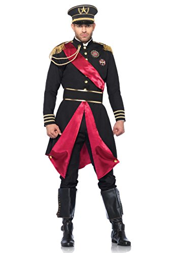 Leg Avenue Men's 2 Piece Military General Costume, Black, (Female Military Halloween Costumes)