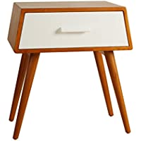 Porthos Home Brooklyn Mid-Century Walnut Side Table, White