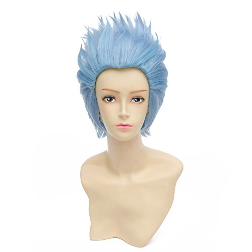 HH Building Cosplay Wig Short Spiky Anime Show Party Costume Hair Wig (Sky Blue) - Easy Masquerade Costume Ideas