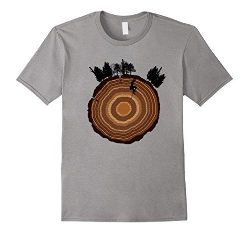 (Mens Rock Climbing Mountain Climber Tree Ring Woods Trees T-Shirt Large Slate)