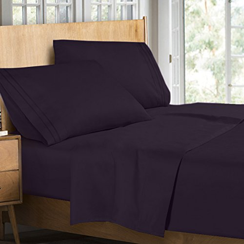 Clara Clark Supreme 1500 Collection 4pc Bed Sheet Set - Queen Size, Purple Eggplant