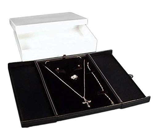 Boxes Leather Gift Earring (888 Display USA Black/Black Earring Ring Necklace Bracelet Combo with Gift Box Display)