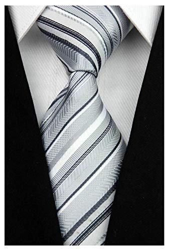 Veegood Men's Classic Jacquard Woven Silk Tie Plaid Silver Striped Necktie for Men Party Suit Z08