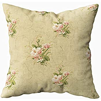 Musesh gold vintage floral rose Cushions Case Throw Pillow Cover For Sofa Home Decorative Pillowslip Gift Ideas Household Pillowcase Zippered Pillow Covers 20x20Inch