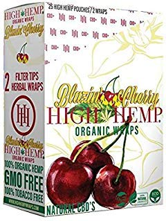 25 Count Blazin Cherry of Organic Wraps - Tobacco Free, Vegan, Non-GMO! 50 Wraps Total!