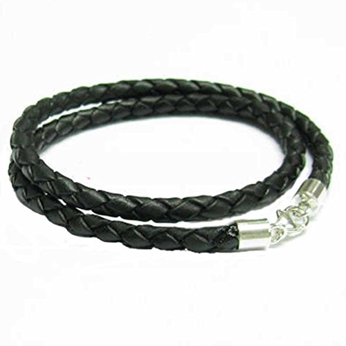 Queenberry Sterling Silver Black Bolo Braided Leather 3mm Cord Choker Necklace for European Bead Charms, 16