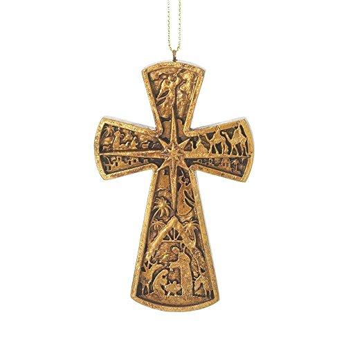 (Dicksons Nativity Flare Cross Dappled Gold 2 x 3.75 Resin Stone Christmas Ornament)