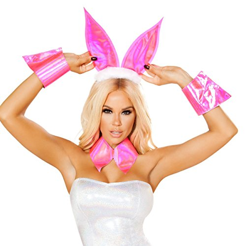 Playgirl Bunny Halloween Costumes (Sexy Playmate Centerfold Bunny Costume with Accessories - Pink - O/S)